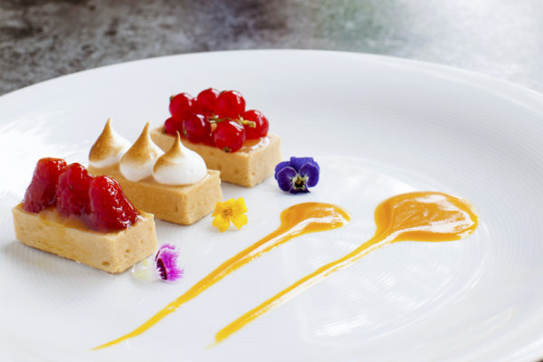 Trio of tartlette served with mango coulis