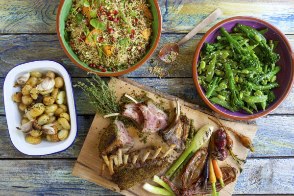 Rack of lamb noisette with a crusty bread crumble, garlic & rosemary