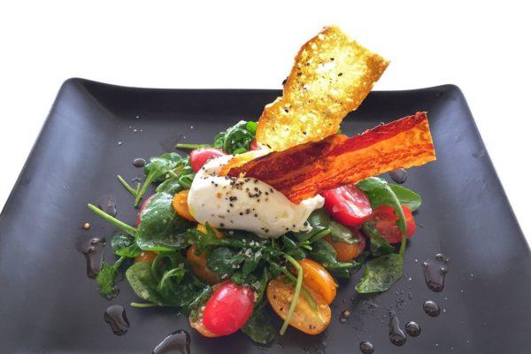 starter burata on rocket tomato salad6
