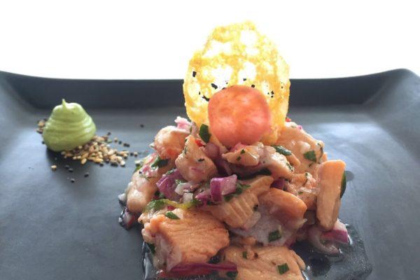 starter trout ceviche with avocado mousse parmesan crisp2