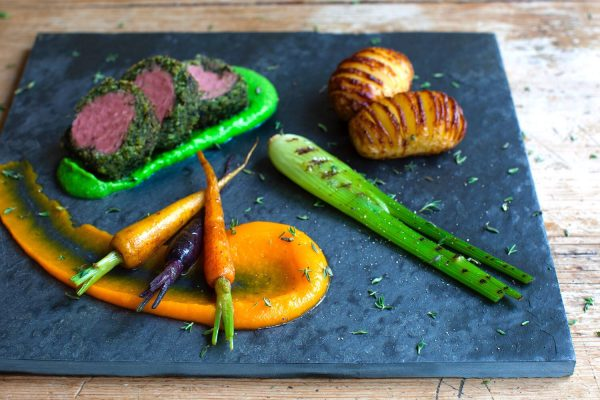 Neck of Lamb served with Hasselback potatoes, rinbow carrots & baby grilled fennel